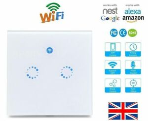 Details about Wifi Alexa Google Voice Timer Android iOS Touch Smart Wall  Light Switch 2 Gang