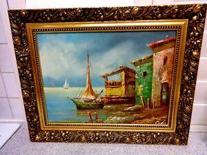 VINTAGE-WOOD-GILT-FRAMED-QUALITY-Italian-River-Boat-Scene-SIGNED