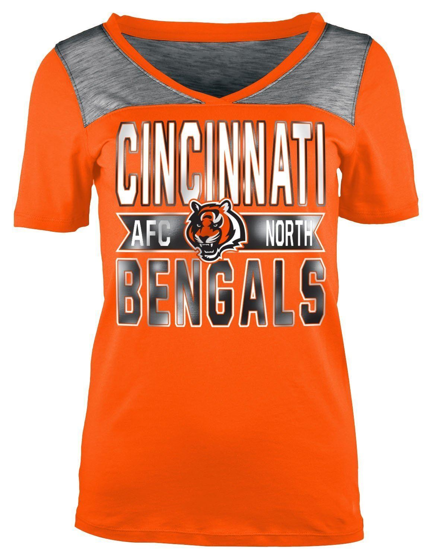 Cincinnati Bengals T-Shirt Women's NFL Short Sleeve Credver Division Foil