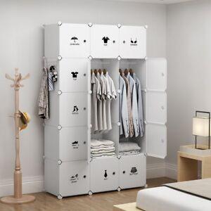Portable Wardrobe Storage Closet Plastic Armoire, White ...