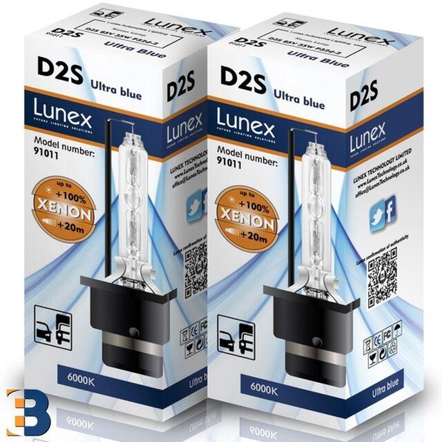 2 x LUNEX D2S Genuine XENON Lamps P32d-2 Original 35W 6000K Ultra Blue 6000K