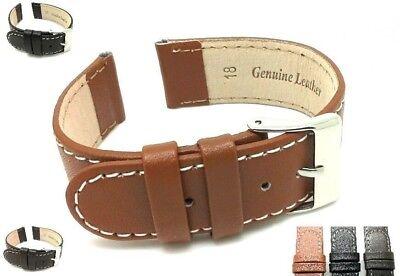 AnpassungsfäHig Genuine Leather Watch Strap Band Mens Ladies Stainless Steel Buckle