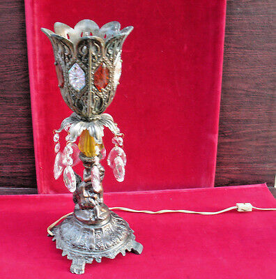 100% Quality Vintage Cast Metal,crystal,cut Glass Lamp Antiques