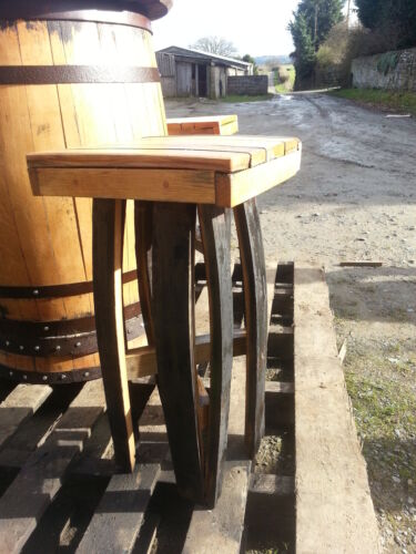 En Bois Massif Chêne recyclé whisky Barrel Stave Tabouret de bar mobilier de jardin vintage
