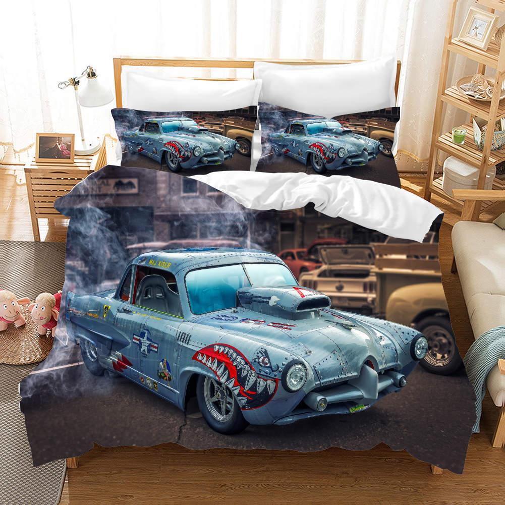 Blau grau Big Car 3D Printing Duvet Quilt Doona Covers Pillow Case Bedding Sets