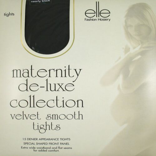 2 PAIRS ELLE MATERNITY DE-LUXE COLLECTION VELVET SMOOTH TIGHTS WITH FRONT PANEL