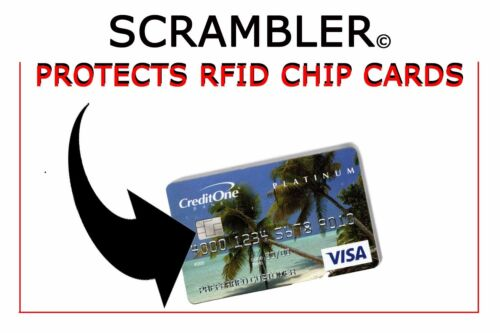 JUST DROP THE SCRAMBLER CARD IN YOUR WALLET! RFID IDENTITY THEFT PROTECTION