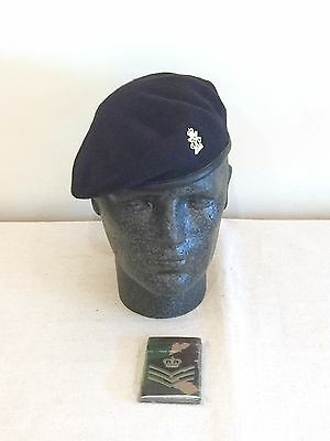 British Army-Issue 13th / 18th Royal Hussars Beret, Badge & DPM Slide. Size 55cm