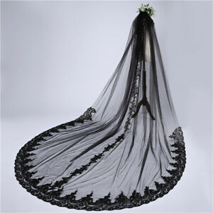3M Black Cathedral Wedding Veils Lace Appliques Long Bridal Veil With Comb Floor