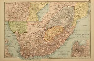 1898 ANTIQUE MAP SOUTH AFRICA CAPE COLONY ORANGE FREE STATE CAPE TOWN PORT NATAL
