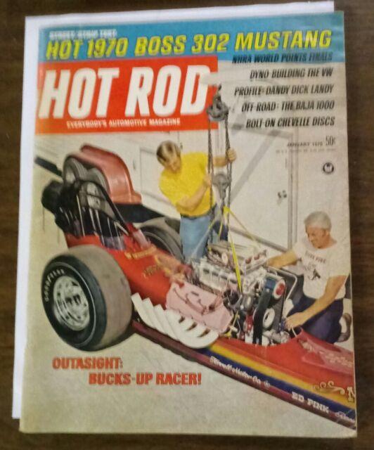 HOT ROD magazine January 1970 Boss Mustang 302 / NHRA Dick Landy