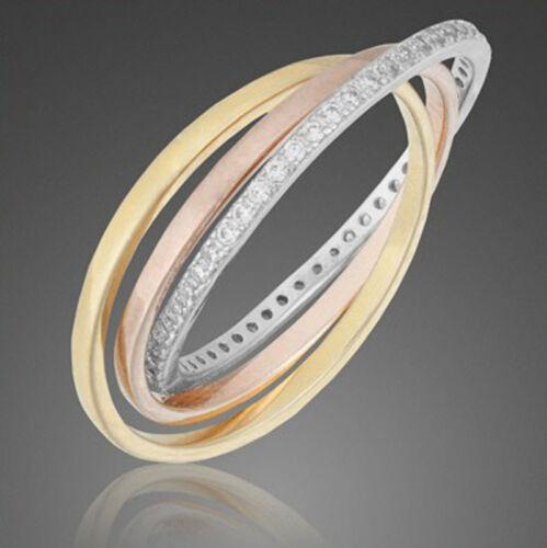 3er Ring ECHT 925 Silber Zirkonia Schmuck Geschenke Damen Silberringe DREIER