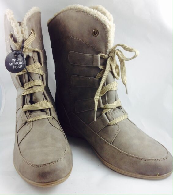 Large Size Ladies EVANS Taupe Lace Up Winter Boots Size UK 9EEE PLUS SIZE ADELA