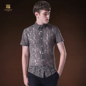 99313dc7fe077 Details about Men's Shirt Sexy Cutout Lace Short Sleeve Dress Shirt  Perspective Pack
