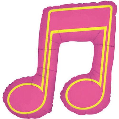 "MUSIC NOTE BALLOON 40/"" HIGH PINK DOUBLE MUSIC NOTE SHAPE BETALLIC BALLOON"