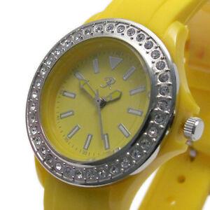 Reflex-Ladies-Watch-Diamante-Bezel-Rubber-Strap-Yellow-Bargain