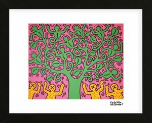 framed art kh01 by keith haring print figure tree contemporary