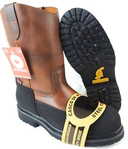 dc9f52c1d94 Details about MEN'S STEEL TOE WORK BOOTS MUDGUARD AROUND GENUINE LEATHER  BROWN OIL RESISTANT