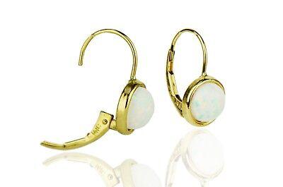 White Oval Opal Diamond Leverback Dangle Earrings 14k Yellow Gold over Base