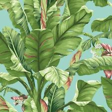 Wallpaper Tropics Banana Palm Leaf Leaves Aqua Light Yellow Green Coral
