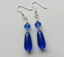 Blue Glass Beaded Tibetan Silver Drop/Dangle PIERCED Earrings Jellybean