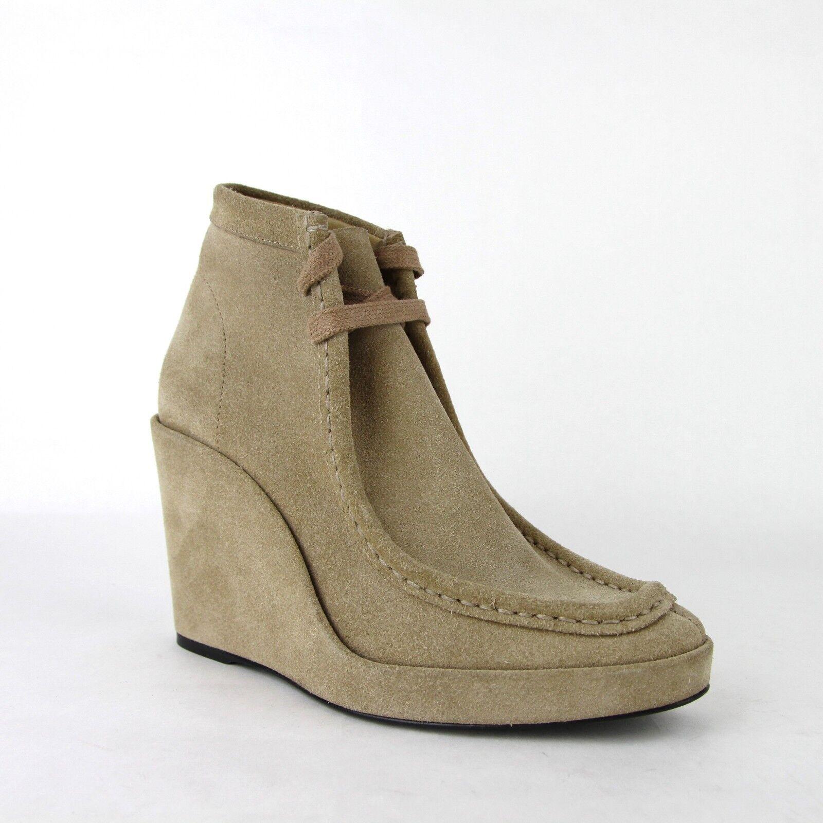 $965 Balenciaga Women Beige Suede Leather Halfboots Wedges 35 391080 2602
