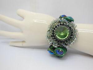5X-Ornate-Faceted-Glass-Beads-Bracelet-Green