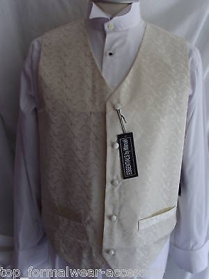 "Angemessen Ivory Mens Silk Wedding/formal Waitcoat < 34"" To 54"" *chest* > P&p 2uk>1st Class"