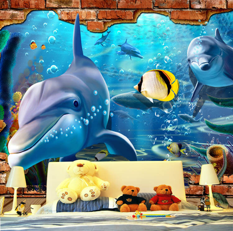 3D Gelbe Fische, Delfine 4 Fototapeten Wandbild Fototapete BildTapete Familie DE
