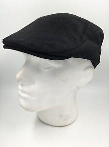 BLACK-FLAT-CAP-GOLF-DRIVING-HW2200-D-BNWT