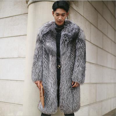 Korean Men S Faux Fur Coat Parka Mid, Large Size Faux Fur Coats