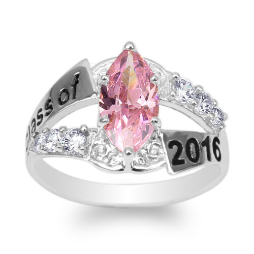 JamesJenny White Gold Plated 2016 Graduation Ring Marquise Pink CZ Size 4-9