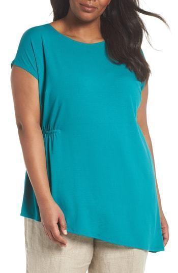 Eileen Fisher Turquoise Stretch Jersey Asymmetrical Tunic Plus 1X, 2X, 3X