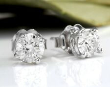 .80Ct Natural VS2-SI1 Diamond 14k Solid White Gold Stud Earrings