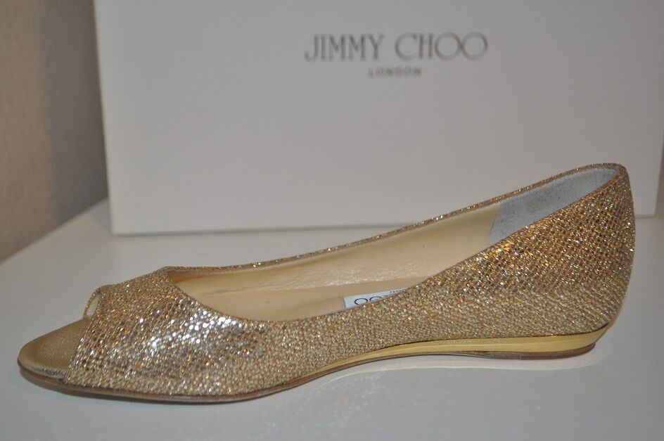NIB JIMMY CHOO BECK Glitter Coated Metallic GOLD Mini Wedge Flat Shoe 36 / 6