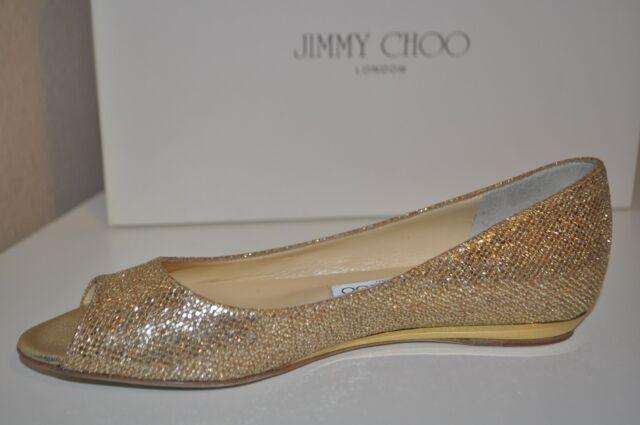 7a8af92aeb8 NIB JIMMY CHOO BECK Glitter Coated Metallic GOLD Mini Wedge Flat Shoe 36   6