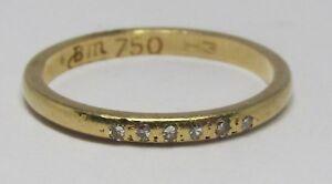 100-Genuine-Vintage-18K-Yellow-Gold-Hammered-Diamond-Eternity-Band-Ring-Sz-4-5