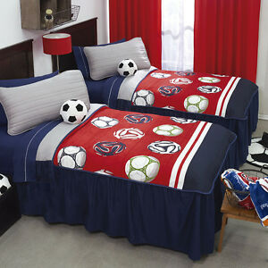 Image Is Loading New Boys Blue Red White Bedspread Bedding