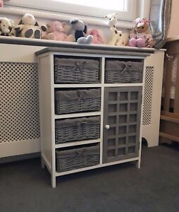Grey-White-Storage-Unit-Cabinet-Retro-Shabby-Chic-Kids-Furniture-Bathroom-Wicker