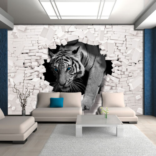 Papier Peint papiers peints photos papier peint poster Meuer mur Tigre Animal Chat Brique 14n10400p8