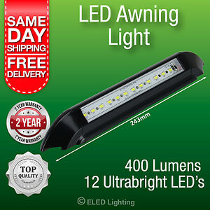 Caravan-Awning-Light-LED-Annex-Lamp-12-v-400-Lumens-Black-IP66-Strip-Lamp
