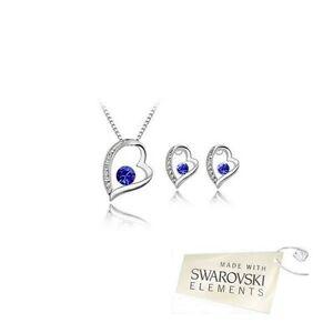 Détails sur Parure Bijoux Cœur Cristal Swarovski Eléments Bleu Roi