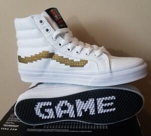 0174cd3e49 VANS Nintendo Console SK8 Hi Slim Shoes White Gold Sizes Men 3.5 ...