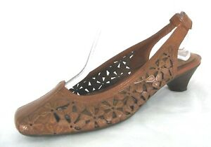 Nurture-Shoes-8-5-Slingback-Kitten-Heel-Floral-Cut-Out-Brown-Leather-Loafer-NWOB