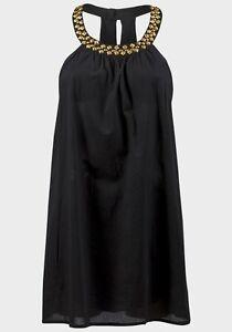 Ladies BLACK Lightweight embellished summer holiday short dress long Top.