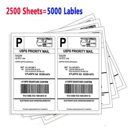 "5000 8.5/""x5.5/"" Round Corner Shipping Labels Half Sheet Self Adhesive Blank Label"