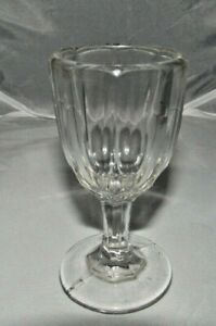 VINTAGE-CLEAR-FANCY-RIBBED-PEDESTAL-CORDIAL-BEVERAGE-GLASS-4-034-TALL