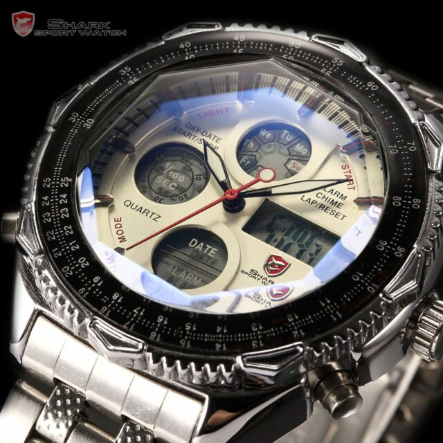 SHARK New Mens Quartz Sport Army Wrist Watch Analog Stainless Steel