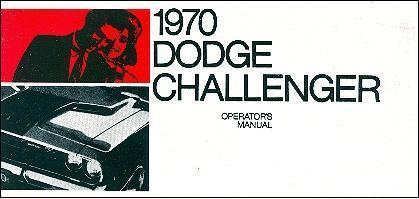 1970 70 DODGE CHALLENGER//RT  OWNER/'S MANUAL