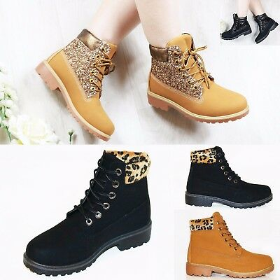 New Womens Hiking Boots Ladies Ankle Desert Trail Combat Chelsea Army Shoes Size